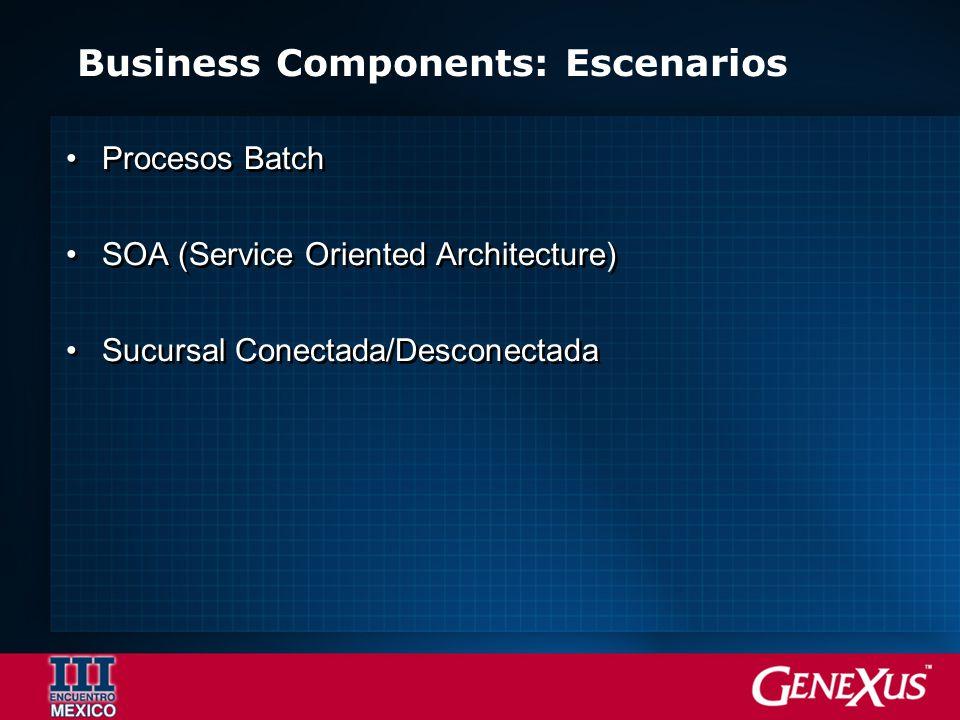 Business Components: Escenarios Procesos Batch SOA (Service Oriented Architecture) Sucursal Conectada/Desconectada Procesos Batch SOA (Service Oriented Architecture) Sucursal Conectada/Desconectada