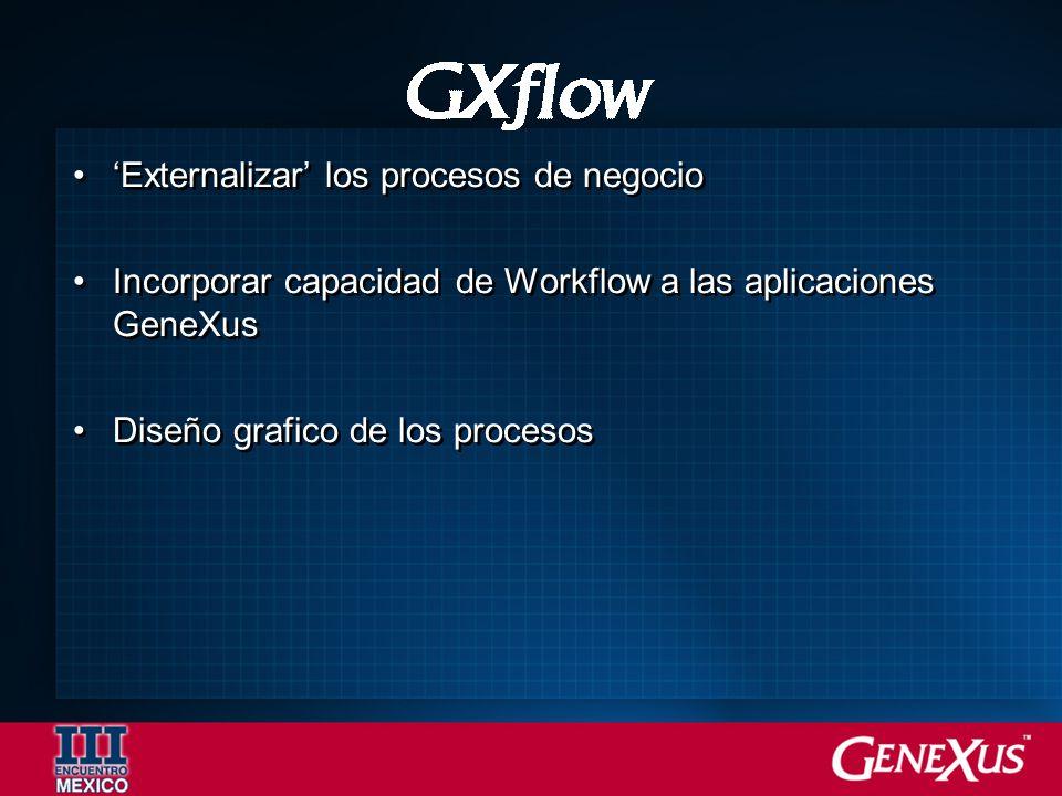 Externalizar los procesos de negocio Incorporar capacidad de Workflow a las aplicaciones GeneXus Diseño grafico de los procesos Externalizar los procesos de negocio Incorporar capacidad de Workflow a las aplicaciones GeneXus Diseño grafico de los procesos