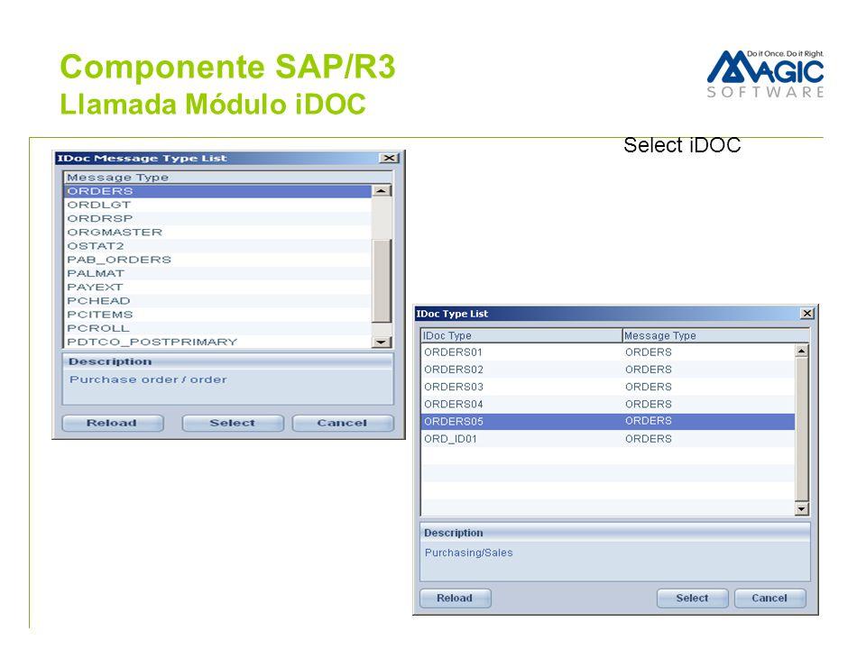 Select iDOC Componente SAP/R3 Llamada Módulo iDOC