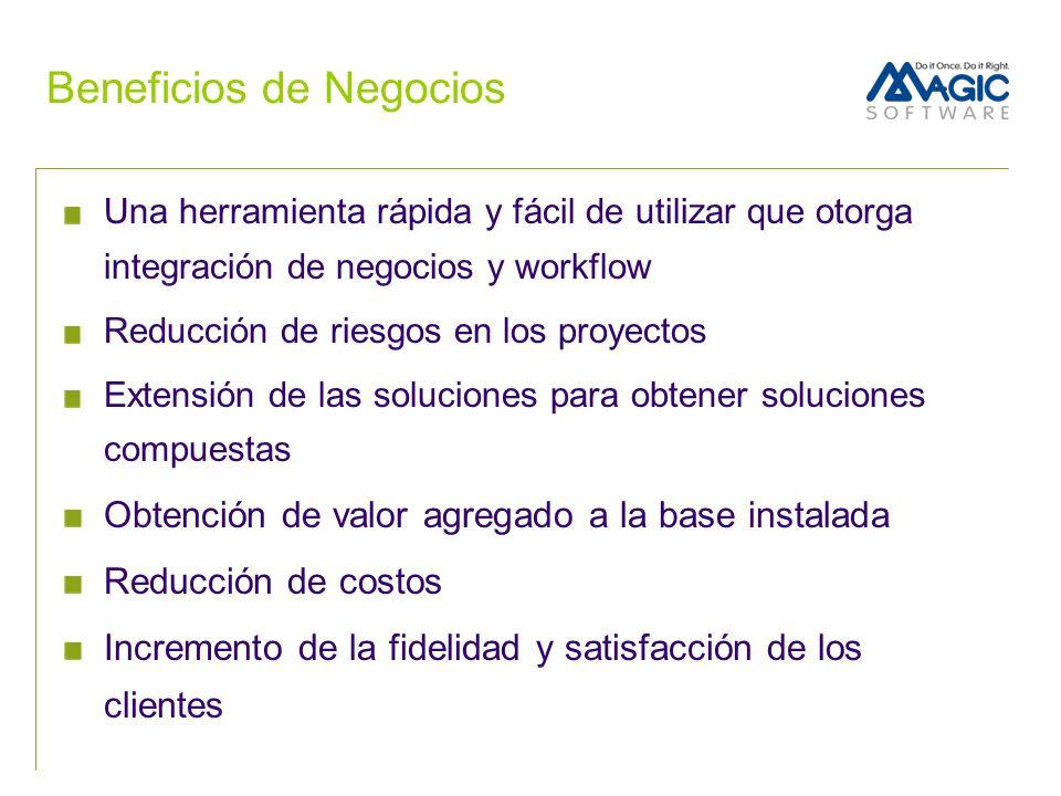 Beneficios de Negocios Una herramienta rápida y fácil de utilizar que otorga integración de negocios y workflow Reducción de riesgos en los proyectos