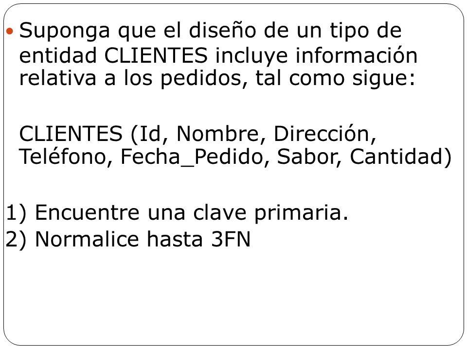 Suponga que el diseño de un tipo de entidad CLIENTES incluye información relativa a los pedidos, tal como sigue: CLIENTES (Id, Nombre, Dirección, Telé