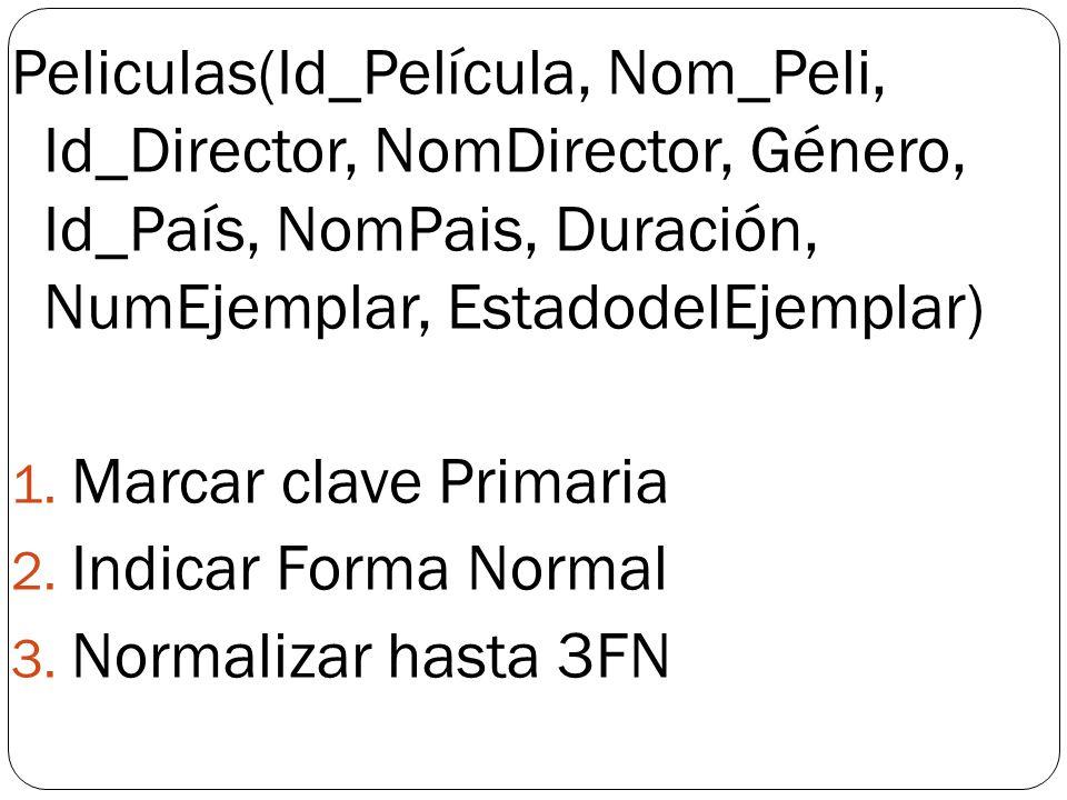 Peliculas(Id_Película, Nom_Peli, Id_Director, NomDirector, Género, Id_País, NomPais, Duración, NumEjemplar, EstadodelEjemplar) 1. Marcar clave Primari