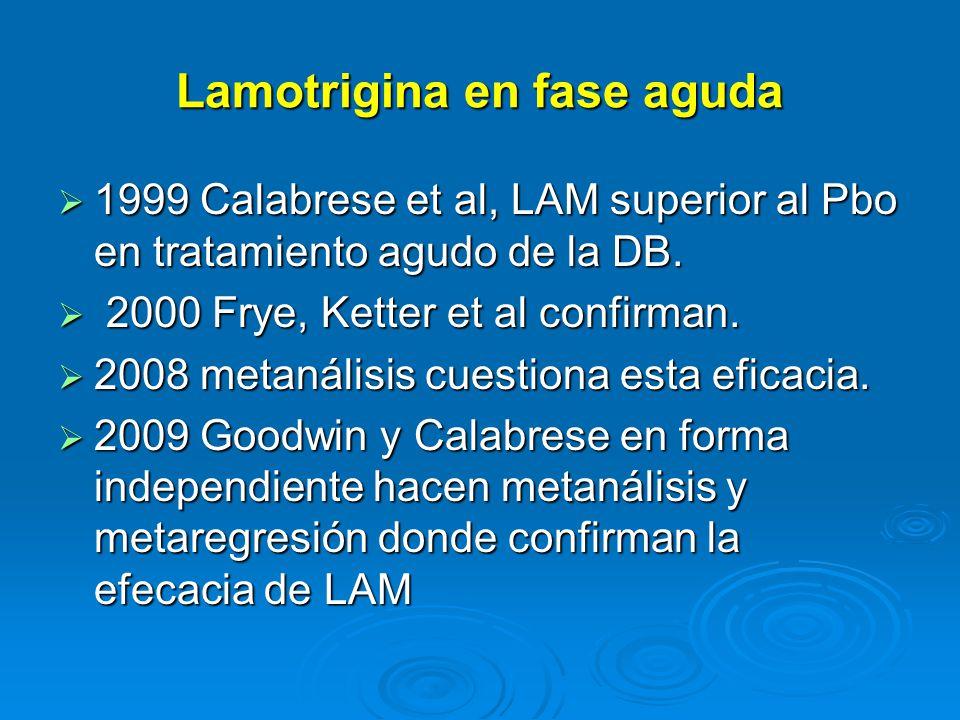 Lamotrigina en fase aguda 1999 Calabrese et al, LAM superior al Pbo en tratamiento agudo de la DB.
