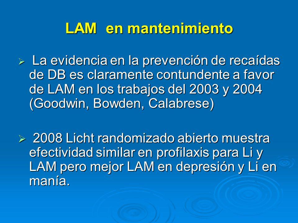 LAM en mantenimiento La evidencia en la prevención de recaídas de DB es claramente contundente a favor de LAM en los trabajos del 2003 y 2004 (Goodwin, Bowden, Calabrese) La evidencia en la prevención de recaídas de DB es claramente contundente a favor de LAM en los trabajos del 2003 y 2004 (Goodwin, Bowden, Calabrese) 2008 Licht randomizado abierto muestra efectividad similar en profilaxis para Li y LAM pero mejor LAM en depresión y Li en manía.