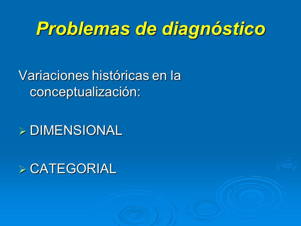 Problemas de diagnóstico Variaciones históricas en la conceptualización: DIMENSIONAL DIMENSIONAL CATEGORIAL CATEGORIAL
