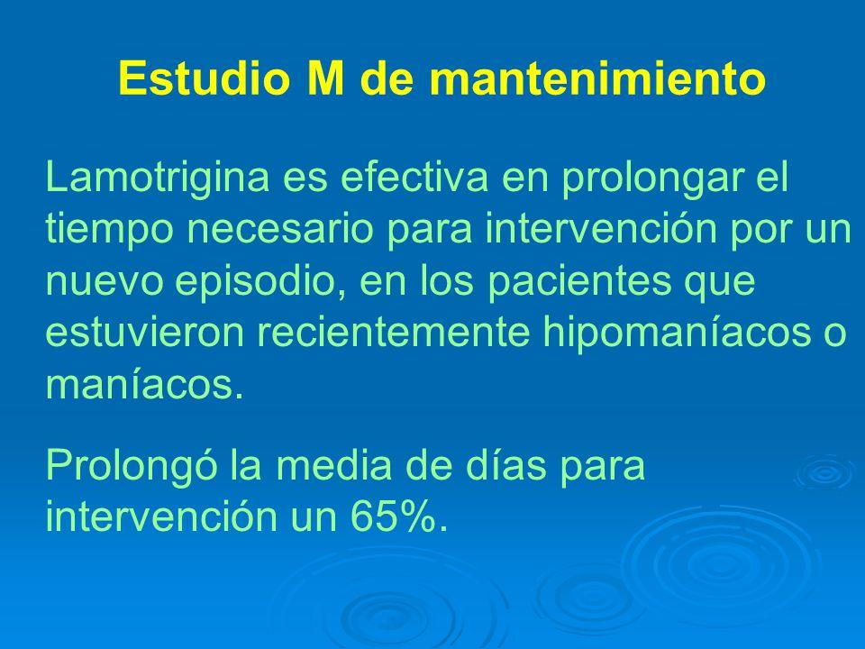 Lamotrigina es efectiva en prolongar el tiempo necesario para intervención por un nuevo episodio, en los pacientes que estuvieron recientemente hipomaníacos o maníacos.