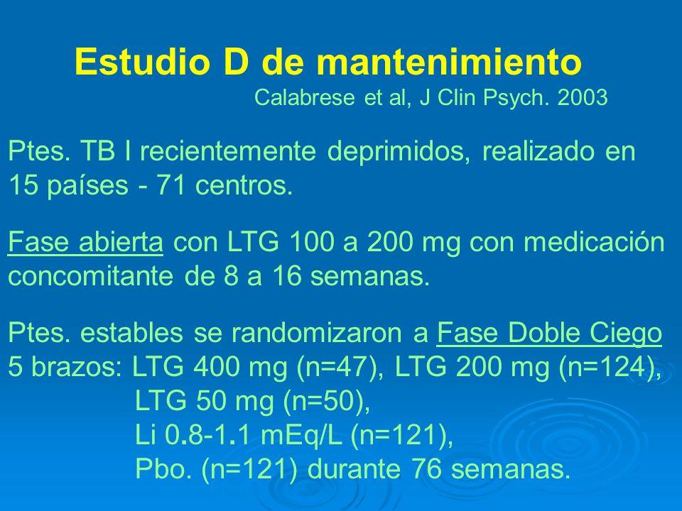 Estudio D de mantenimiento Calabrese et al, J Clin Psych.