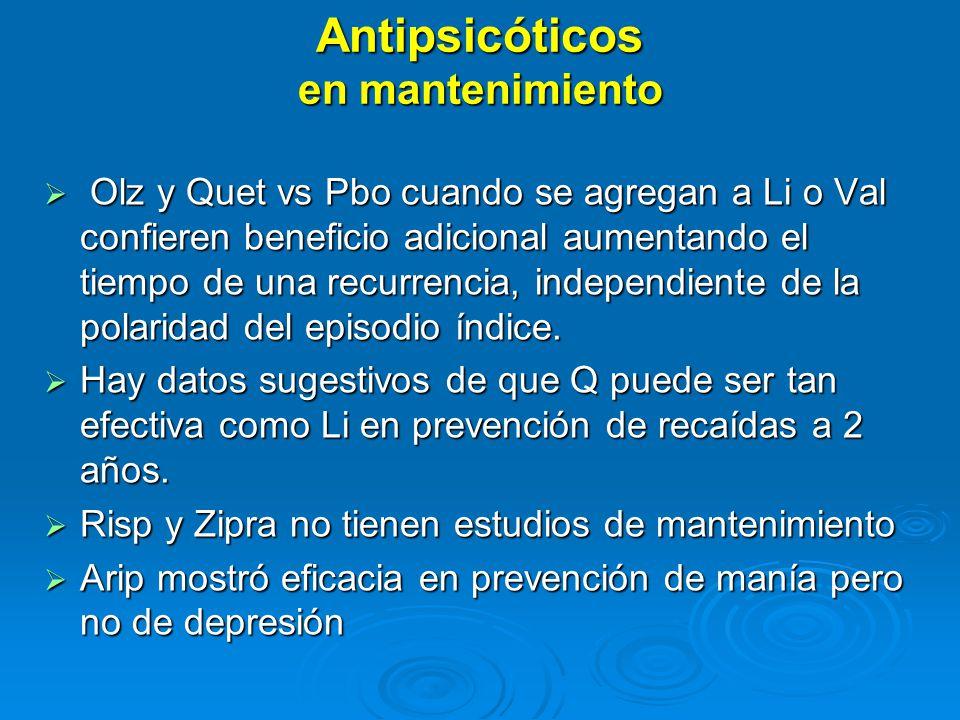Antipsicóticos en mantenimiento Olz y Quet vs Pbo cuando se agregan a Li o Val confieren beneficio adicional aumentando el tiempo de una recurrencia, independiente de la polaridad del episodio índice.