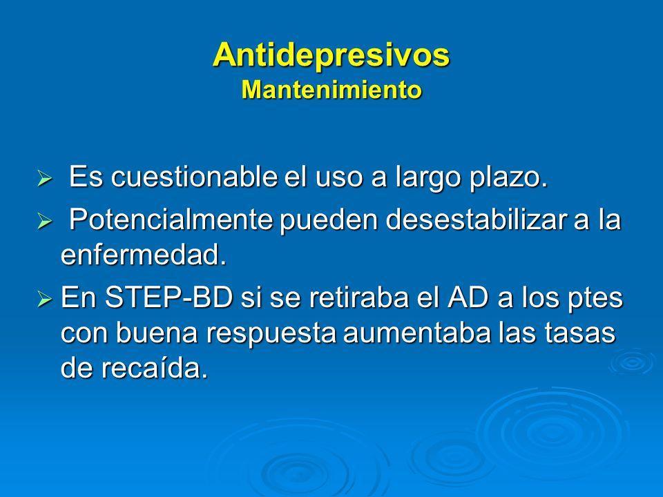 Antidepresivos Mantenimiento Es cuestionable el uso a largo plazo.