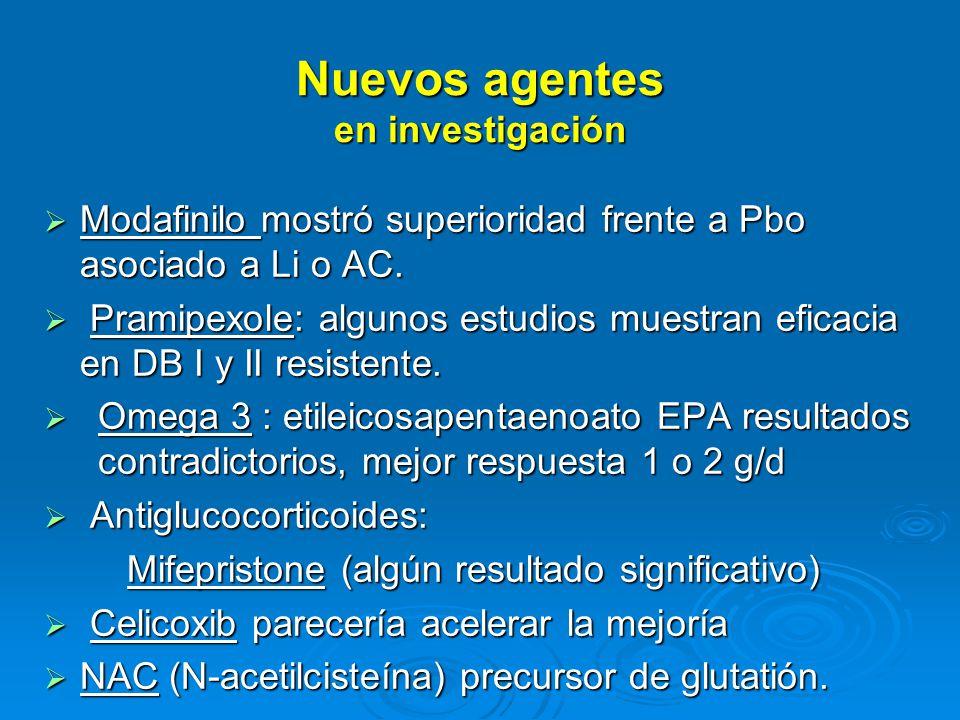 Nuevos agentes en investigación Modafinilo mostró superioridad frente a Pbo asociado a Li o AC.