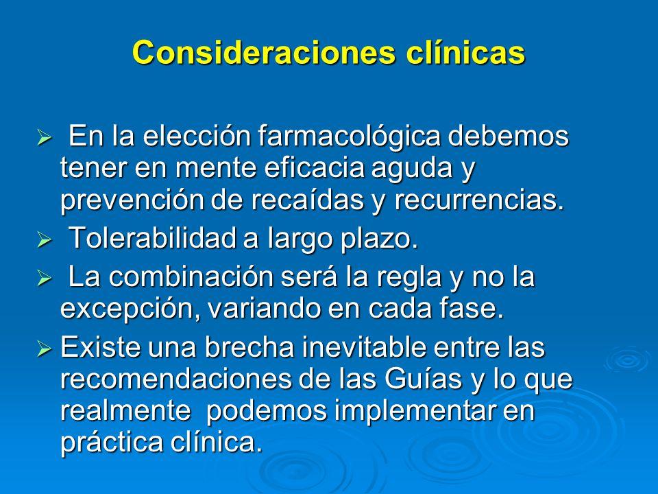 Consideraciones clínicas En la elección farmacológica debemos tener en mente eficacia aguda y prevención de recaídas y recurrencias.