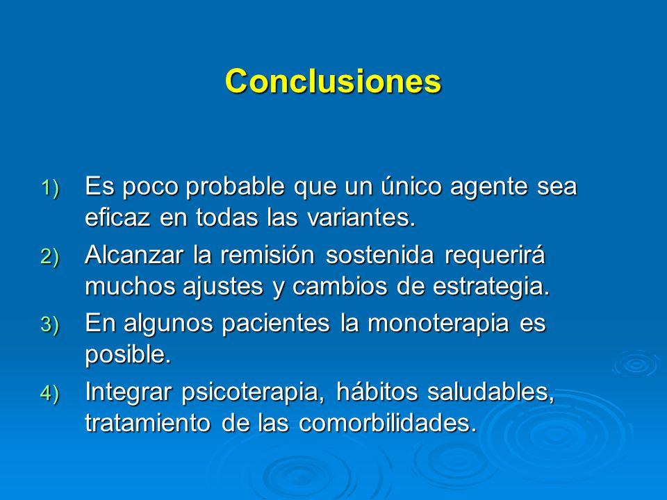 Conclusiones 1) Es poco probable que un único agente sea eficaz en todas las variantes.