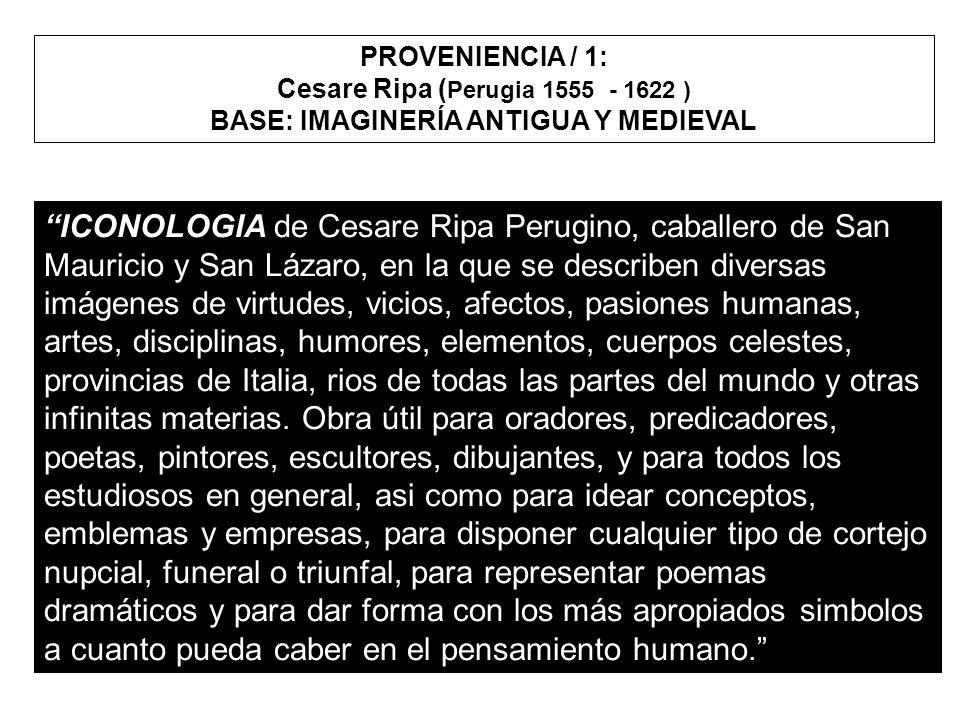 ICONOLOGIA de Cesare Ripa Perugino, caballero de San Mauricio y San Lázaro, en la que se describen diversas imágenes de virtudes, vicios, afectos, pas