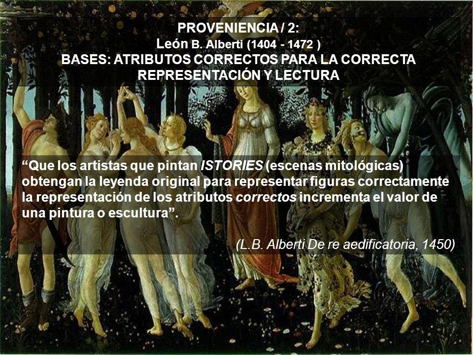 PROVENIENCIA / 2: León B. Alberti (1404 - 1472 ) BASES: ATRIBUTOS CORRECTOS PARA LA CORRECTA REPRESENTACIÓN Y LECTURA Que los artistas que pintan ISTO