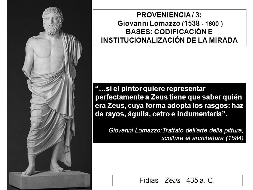 PROVENIENCIA / 3: Giovanni Lomazzo ( 1538 - 1600 ) BASES: CODIFICACIÓN E INSTITUCIONALIZACIÓN DE LA MIRADA …si el pintor quiere representar perfectame