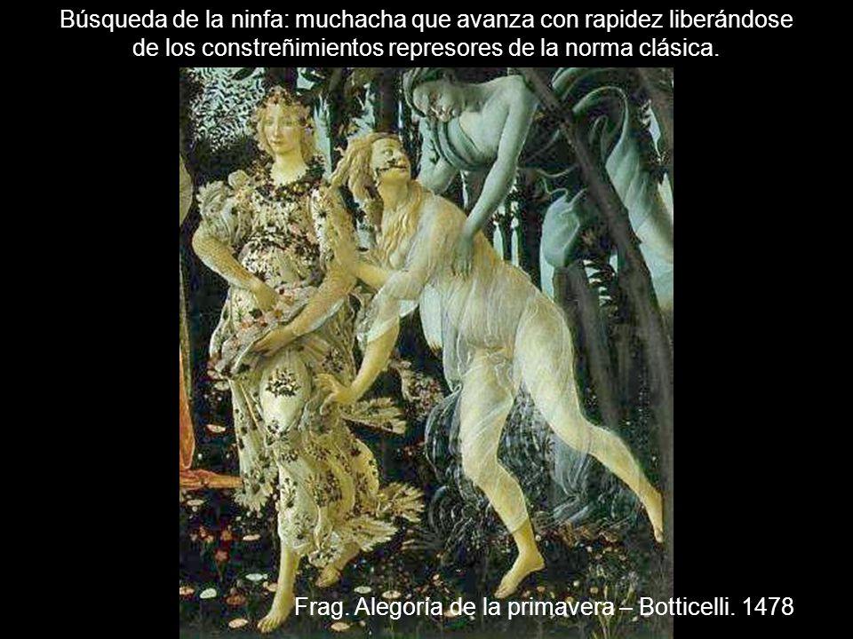 Frag. Alegoría de la primavera – Botticelli. 1478 Búsqueda de la ninfa: muchacha que avanza con rapidez liberándose de los constreñimientos represores