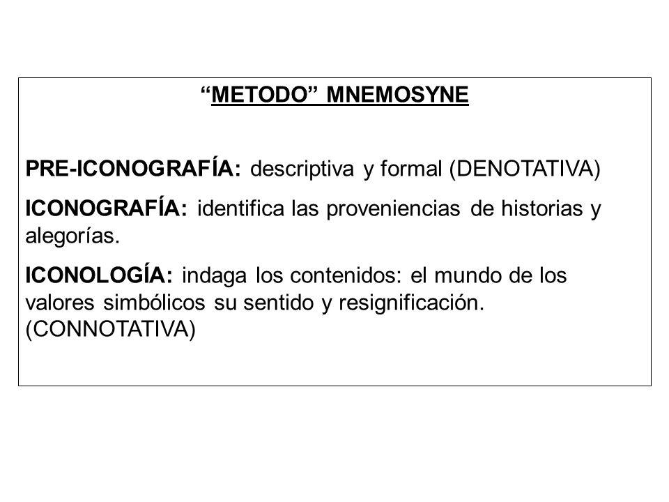 METODO MNEMOSYNE PRE-ICONOGRAFÍA: descriptiva y formal (DENOTATIVA) ICONOGRAFÍA: identifica las proveniencias de historias y alegorías. ICONOLOGÍA: in