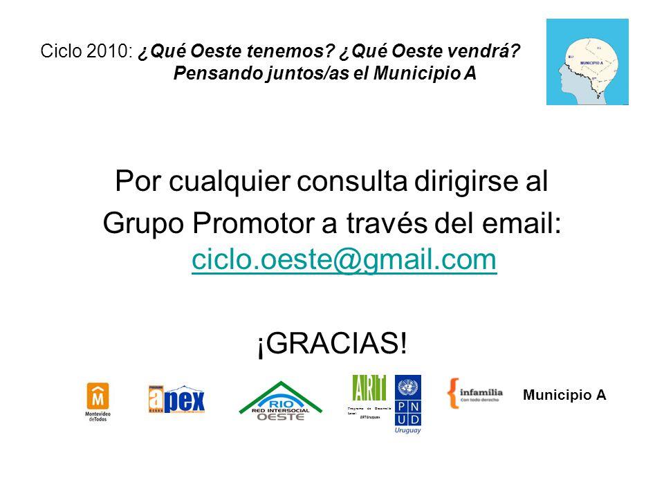 Por cualquier consulta dirigirse al Grupo Promotor a través del email: ciclo.oeste@gmail.com ciclo.oeste@gmail.com ¡GRACIAS.