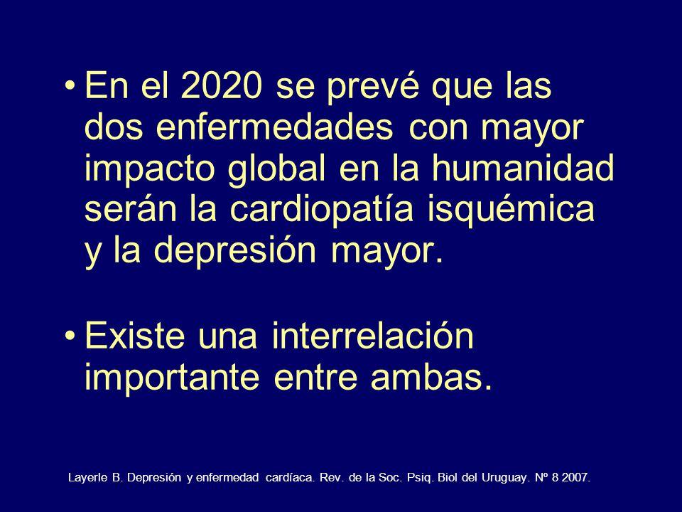 En el 2020 se prevé que las dos enfermedades con mayor impacto global en la humanidad serán la cardiopatía isquémica y la depresión mayor. Existe una