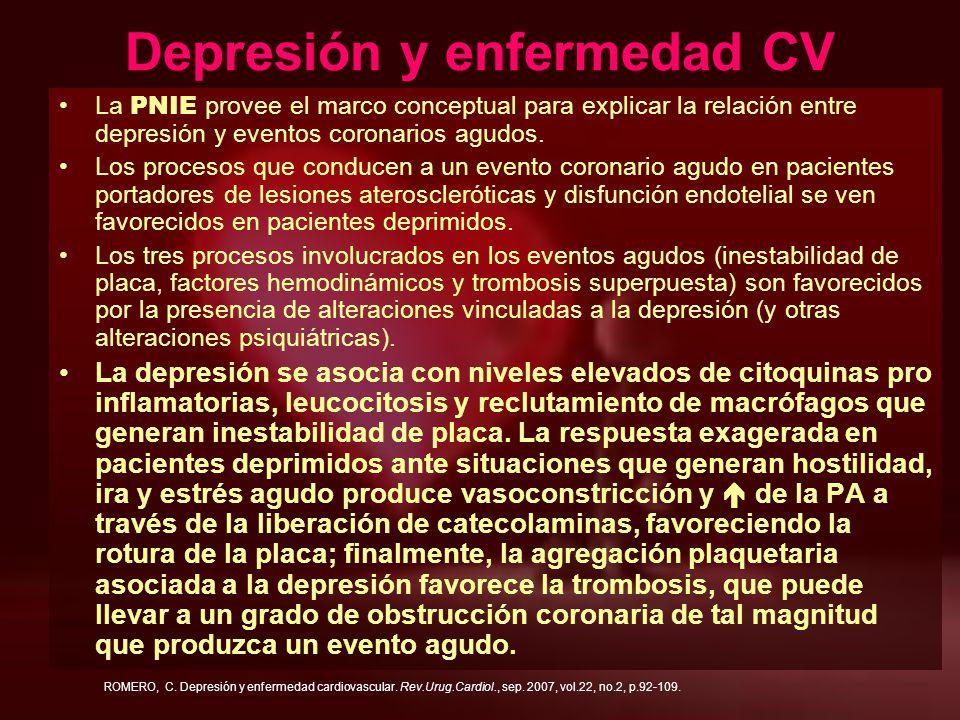 Depresión y enfermedad CV La PNIE provee el marco conceptual para explicar la relación entre depresión y eventos coronarios agudos. Los procesos que c