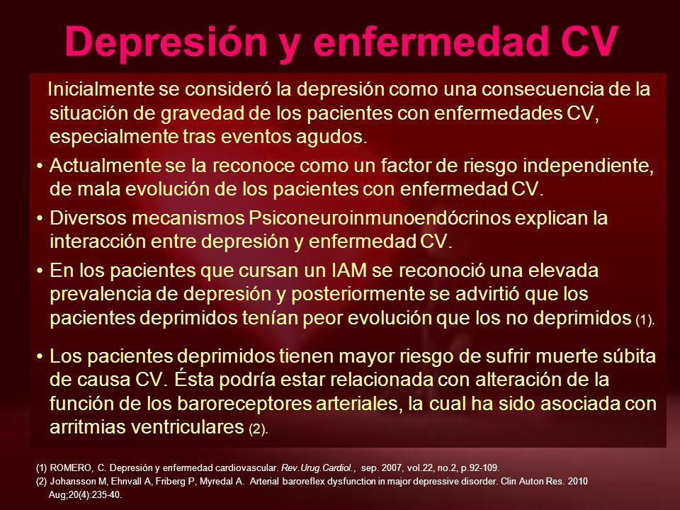 Inicialmente se consideró la depresión como una consecuencia de la situación de gravedad de los pacientes con enfermedades CV, especialmente tras even