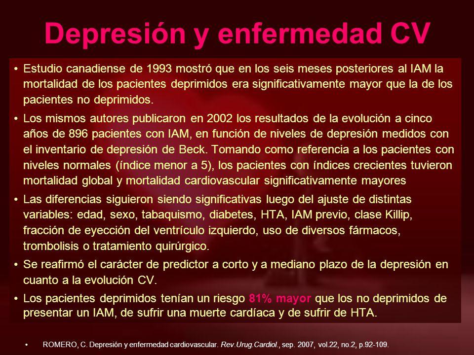 Depresión y enfermedad CV Estudio canadiense de 1993 mostró que en los seis meses posteriores al IAM la mortalidad de los pacientes deprimidos era sig