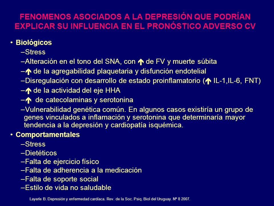 FENOMENOS ASOCIADOS A LA DEPRESIÓN QUE PODRÍAN EXPLICAR SU INFLUENCIA EN EL PRONÓSTICO ADVERSO CV Biológicos –Stress –Alteración en el tono del SNA, c