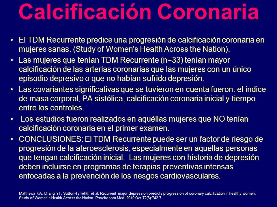 Calcificación Coronaria El TDM Recurrente predice una progresión de calcificación coronaria en mujeres sanas. (Study of Women's Health Across the Nati
