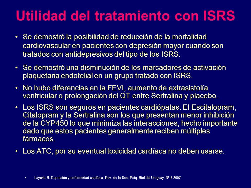 Utilidad del tratamiento con ISRS Se demostró la posibilidad de reducción de la mortalidad cardiovascular en pacientes con depresión mayor cuando son