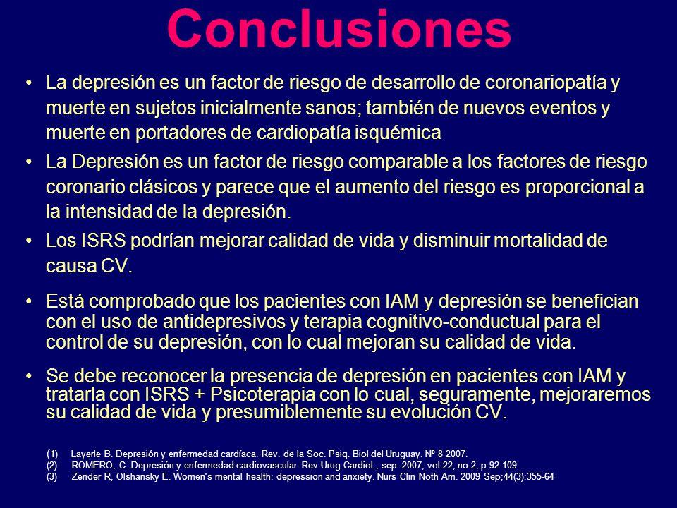 Conclusiones La depresión es un factor de riesgo de desarrollo de coronariopatía y muerte en sujetos inicialmente sanos; también de nuevos eventos y m