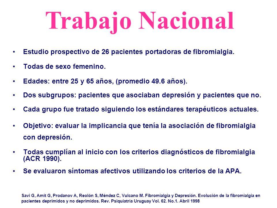 Trabajo Nacional Savi G, Amit G, Prodanov A, Reolón S, Méndez C, Vulcano M. Fibromialgia y Depresión. Evolución de la fibromialgia en pacientes deprim