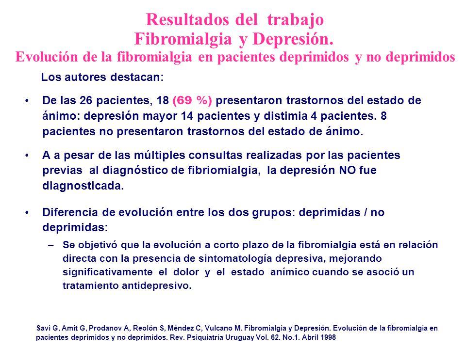 Resultados del trabajo Fibromialgia y Depresión. Evolución de la fibromialgia en pacientes deprimidos y no deprimidos Savi G, Amit G, Prodanov A, Reol