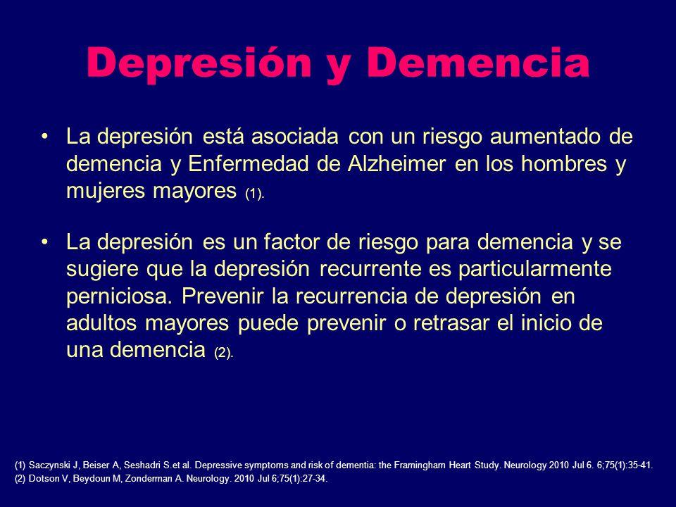 Depresión y Demencia La depresión está asociada con un riesgo aumentado de demencia y Enfermedad de Alzheimer en los hombres y mujeres mayores (1). La