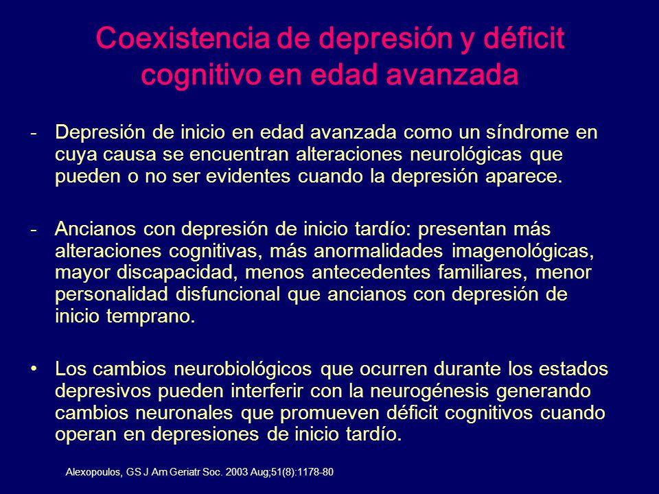 Coexistencia de depresión y déficit cognitivo en edad avanzada -Depresión de inicio en edad avanzada como un síndrome en cuya causa se encuentran alte