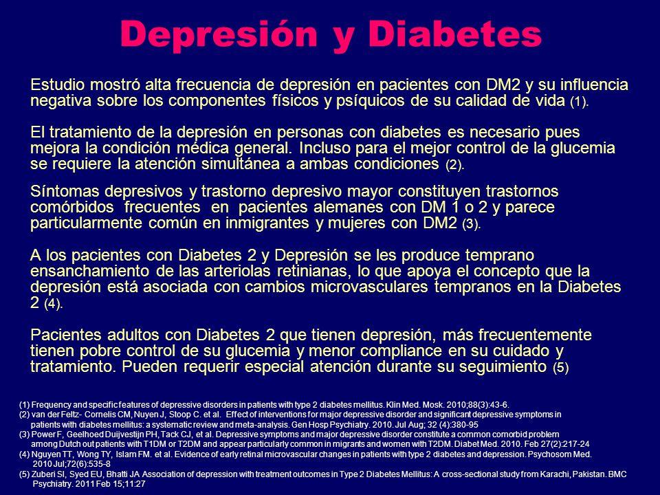 Depresión y Diabetes Estudio mostró alta frecuencia de depresión en pacientes con DM2 y su influencia negativa sobre los componentes físicos y psíquic