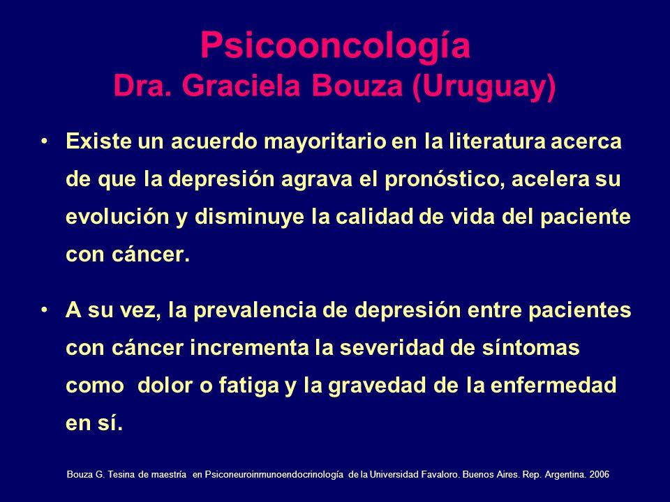 Psicooncología Dra. Graciela Bouza (Uruguay) Existe un acuerdo mayoritario en la literatura acerca de que la depresión agrava el pronóstico, acelera s