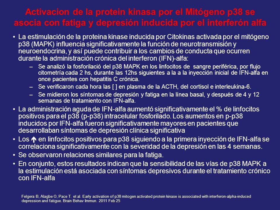 Activacion de la protein kinasa por el Mitógeno p38 se asocia con fatiga y depresión inducida por el interferón alfa La estimulación de la proteina ki