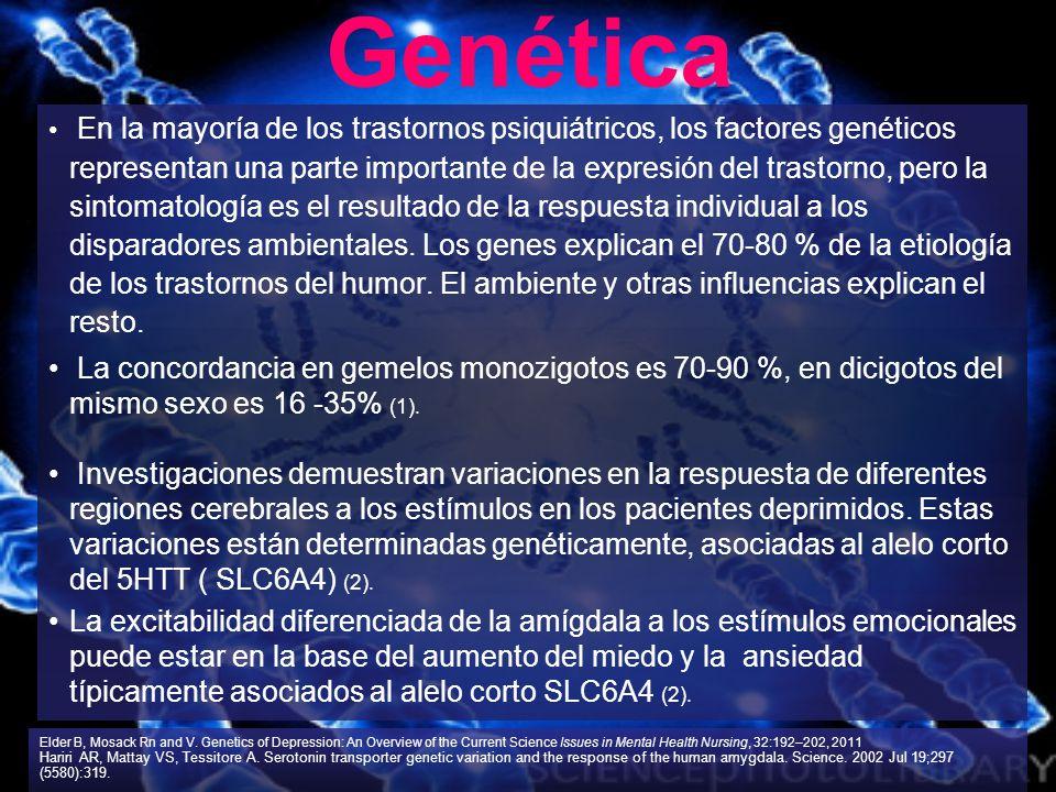 En la mayoría de los trastornos psiquiátricos, los factores genéticos representan una parte importante de la expresión del trastorno, pero la sintomat