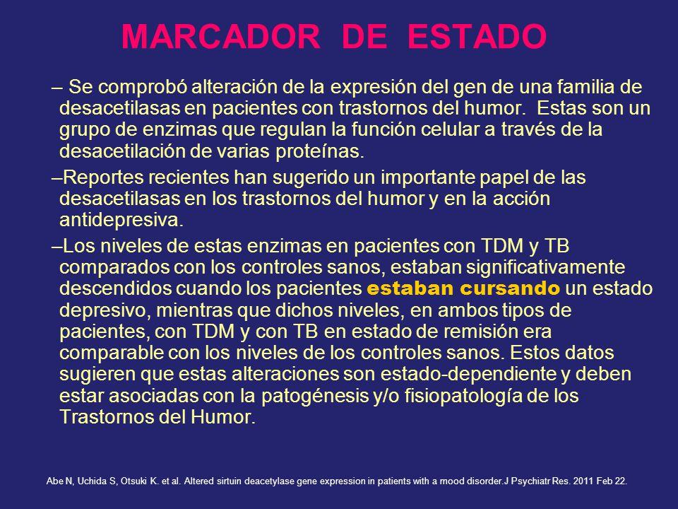 MARCADOR DE ESTADO – Se comprobó alteración de la expresión del gen de una familia de desacetilasas en pacientes con trastornos del humor. Estas son u