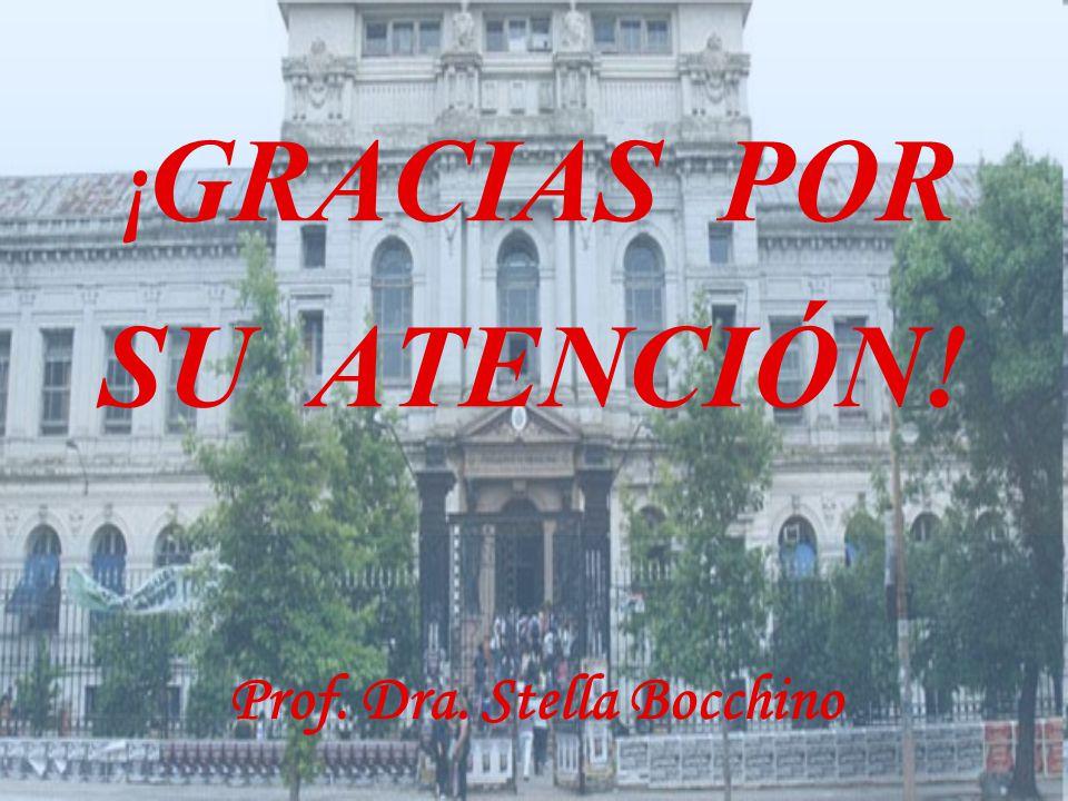 ¡ GRACIAS POR SU ATENCIÓN! Prof. Dra. Stella Bocchino