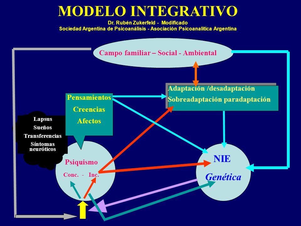 MODELO INTEGRATIVO Dr. Rubén Zukerfeld - Modificado Sociedad Argentina de Psicoanálisis - Asociación Psicoanalítica Argentina NIE Genética Psiquismo C