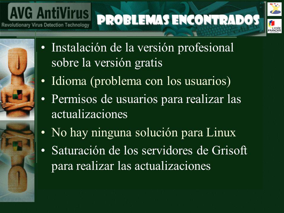 PROBLEMAS ENCONTRADOS Instalación de la versión profesional sobre la versión gratis Idioma (problema con los usuarios) Permisos de usuarios para reali
