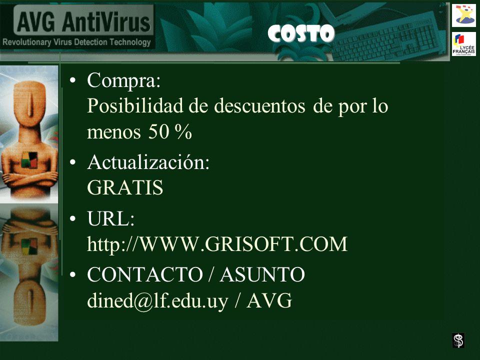 COSTO Compra: Posibilidad de descuentos de por lo menos 50 % Actualización: GRATIS URL: http://WWW.GRISOFT.COM CONTACTO / ASUNTO dined@lf.edu.uy / AVG