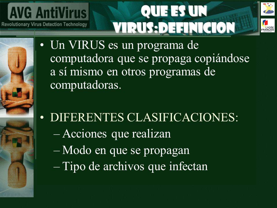 QUE Es Un Virus:DEFINICION Un VIRUS es un programa de computadora que se propaga copiándose a sí mismo en otros programas de computadoras. DIFERENTES