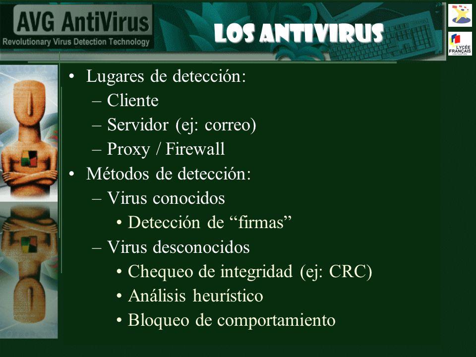 LOS ANTIVIRUS Lugares de detección: –Cliente –Servidor (ej: correo) –Proxy / Firewall Métodos de detección: –Virus conocidos Detección de firmas –Viru