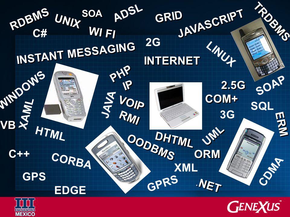 ADSL 2G 3G GPS HTML XML GPRS CDMA EDGE XAML WINDOWS LINUX SQL JAVA C# CORBA SOAP C++ 2.5G OODBMS ORM INTERNET VB. NET PHP JAVASCRIPT WI FI RMI UML TRD