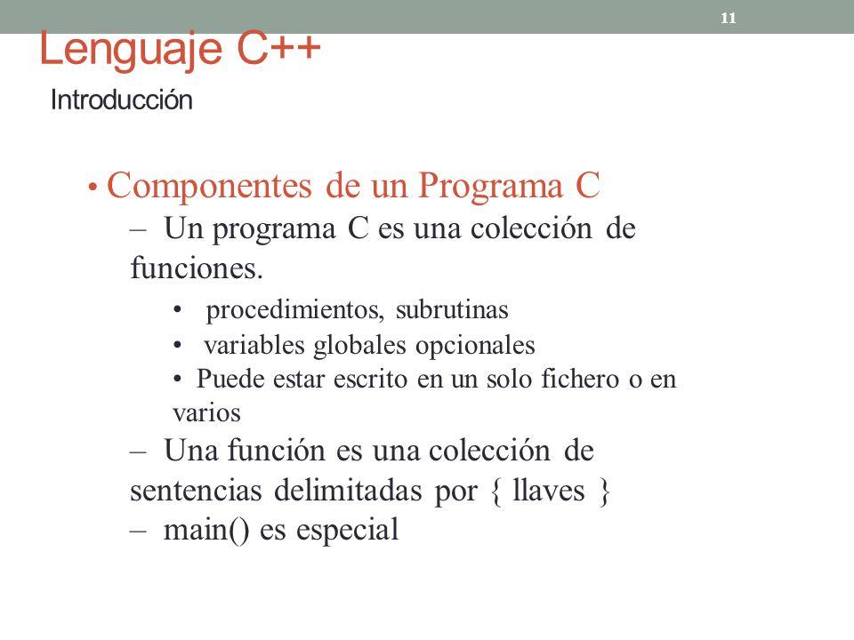 Lenguaje C++ Introducción 11 Componentes de un Programa C – Un programa C es una colección de funciones. procedimientos, subrutinas variables globales
