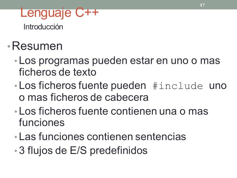 Lenguaje C++ Introducción Resumen Los programas pueden estar en uno o mas ficheros de texto Los ficheros fuente pueden #include uno o mas ficheros de