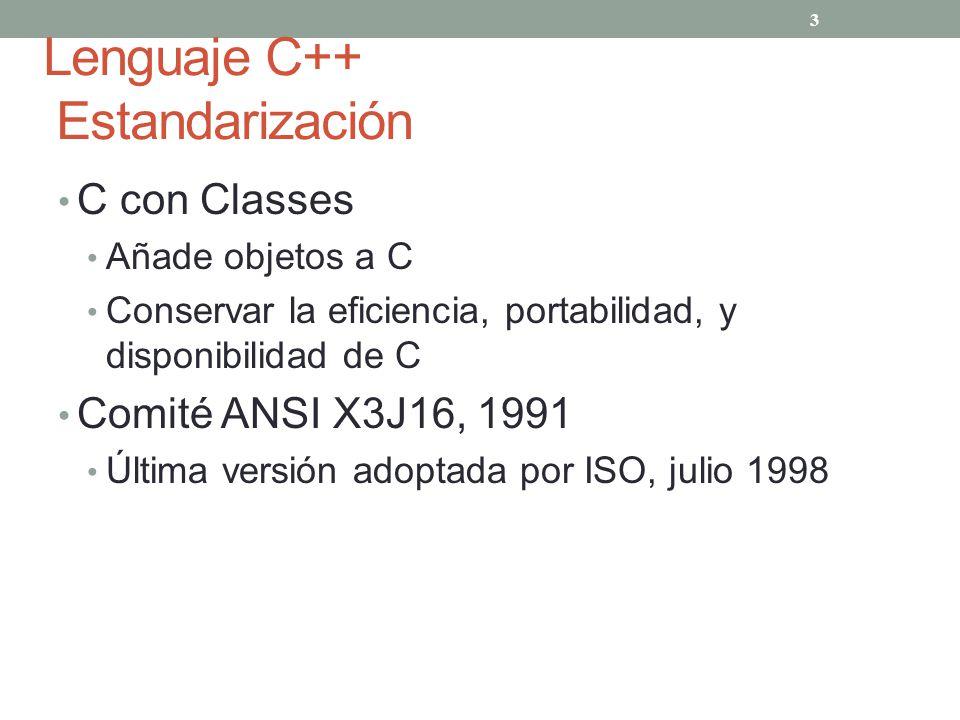 Lenguaje C++ Estandarización C con Classes Añade objetos a C Conservar la eficiencia, portabilidad, y disponibilidad de C Comité ANSI X3J16, 1991 Últi