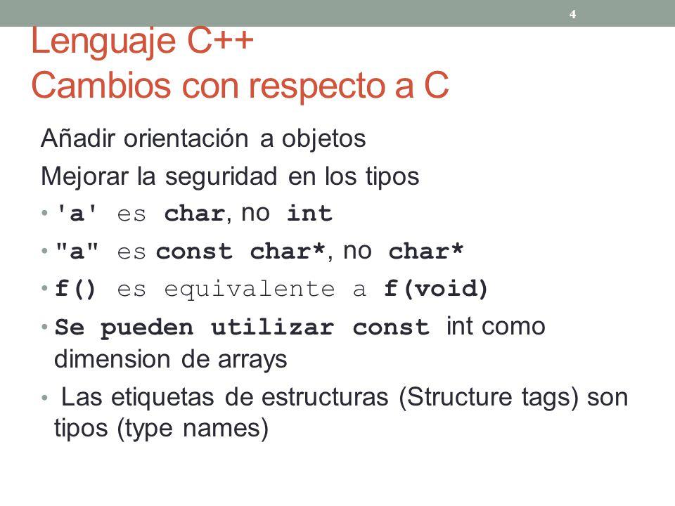 Lenguaje C++ Cambios con respecto a C Añadir orientación a objetos Mejorar la seguridad en los tipos 'a' es char, no int